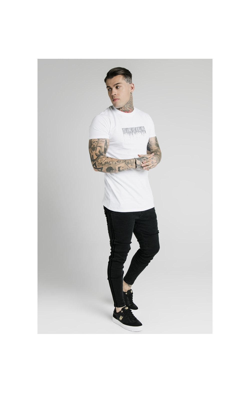 SikSilk Skinny Velour Stripe Denims – Black (4)