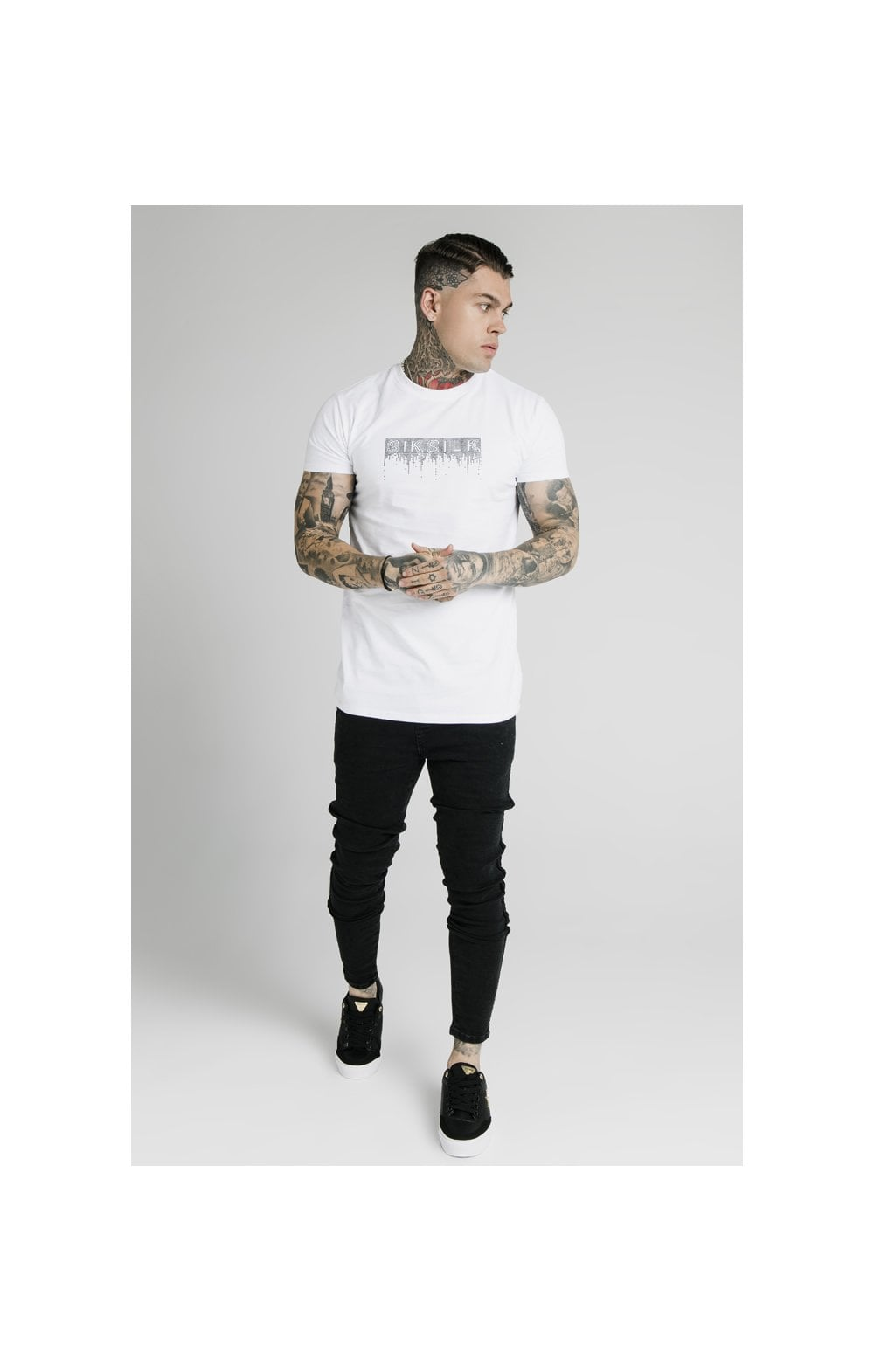 SikSilk Skinny Velour Stripe Denims – Black (5)