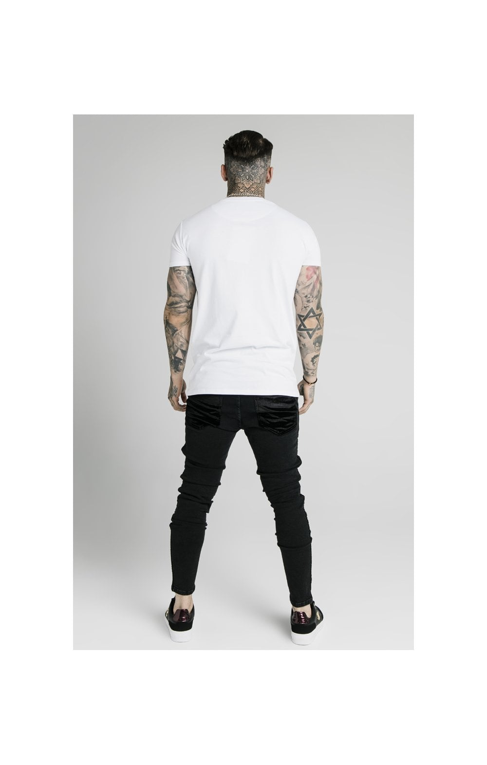 SikSilk Skinny Velour Stripe Denims – Black (6)
