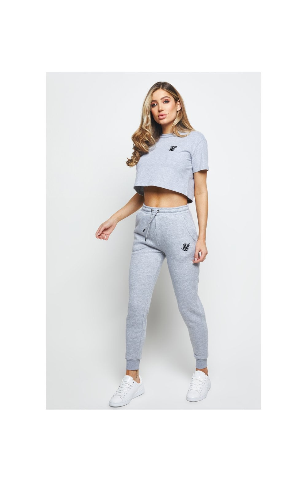 SikSilk Retro Box Fit Crop Tee – Grey Marl (3)