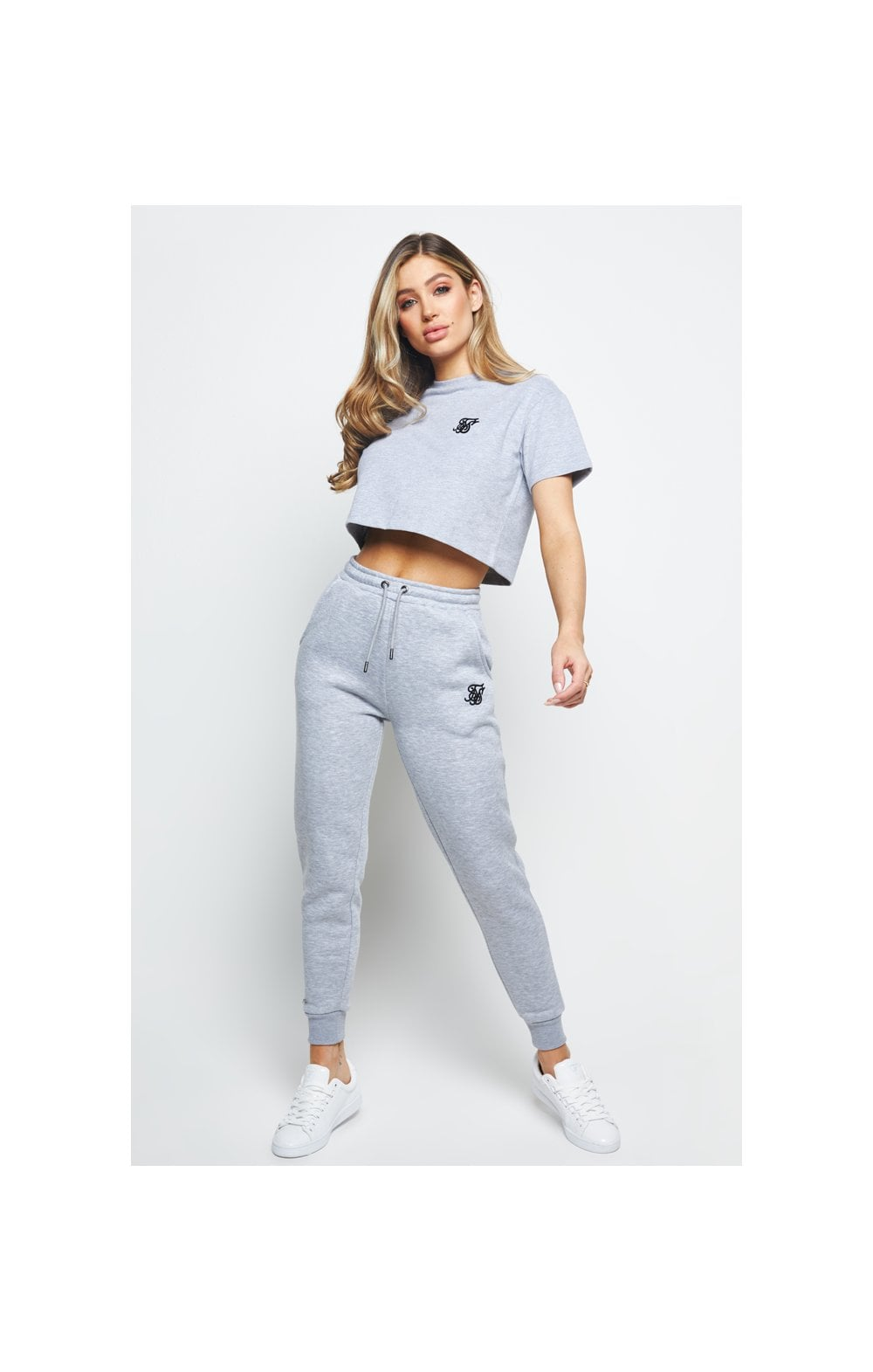 SikSilk Retro Box Fit Crop Tee – Grey Marl (5)