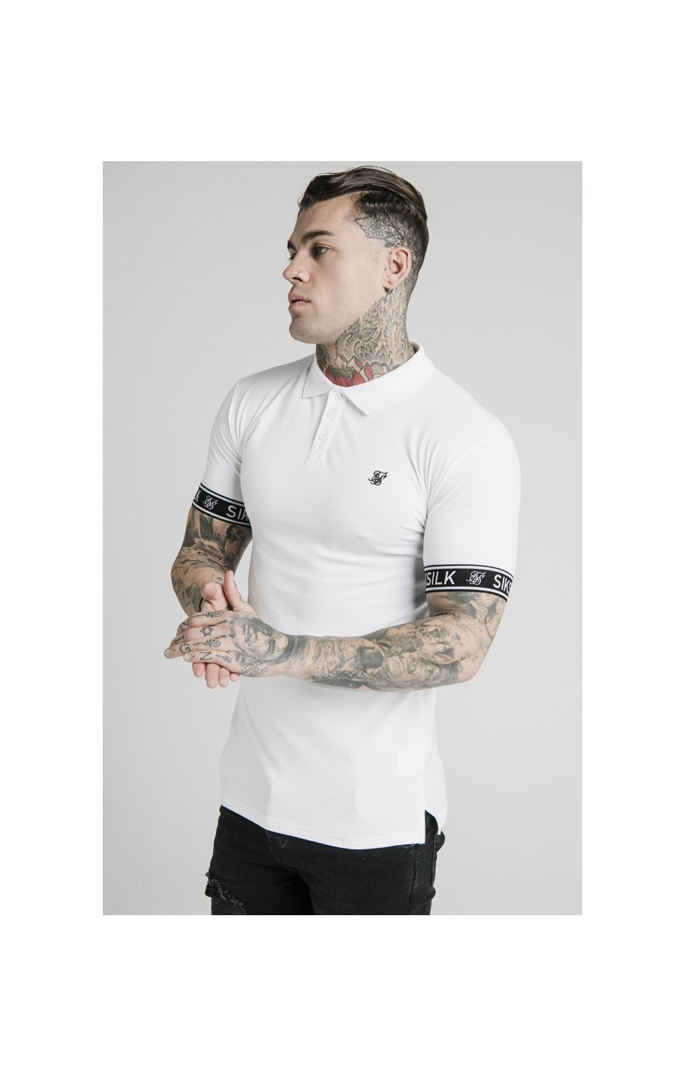 SikSilk S/S Tech Polo Tee - White (1)