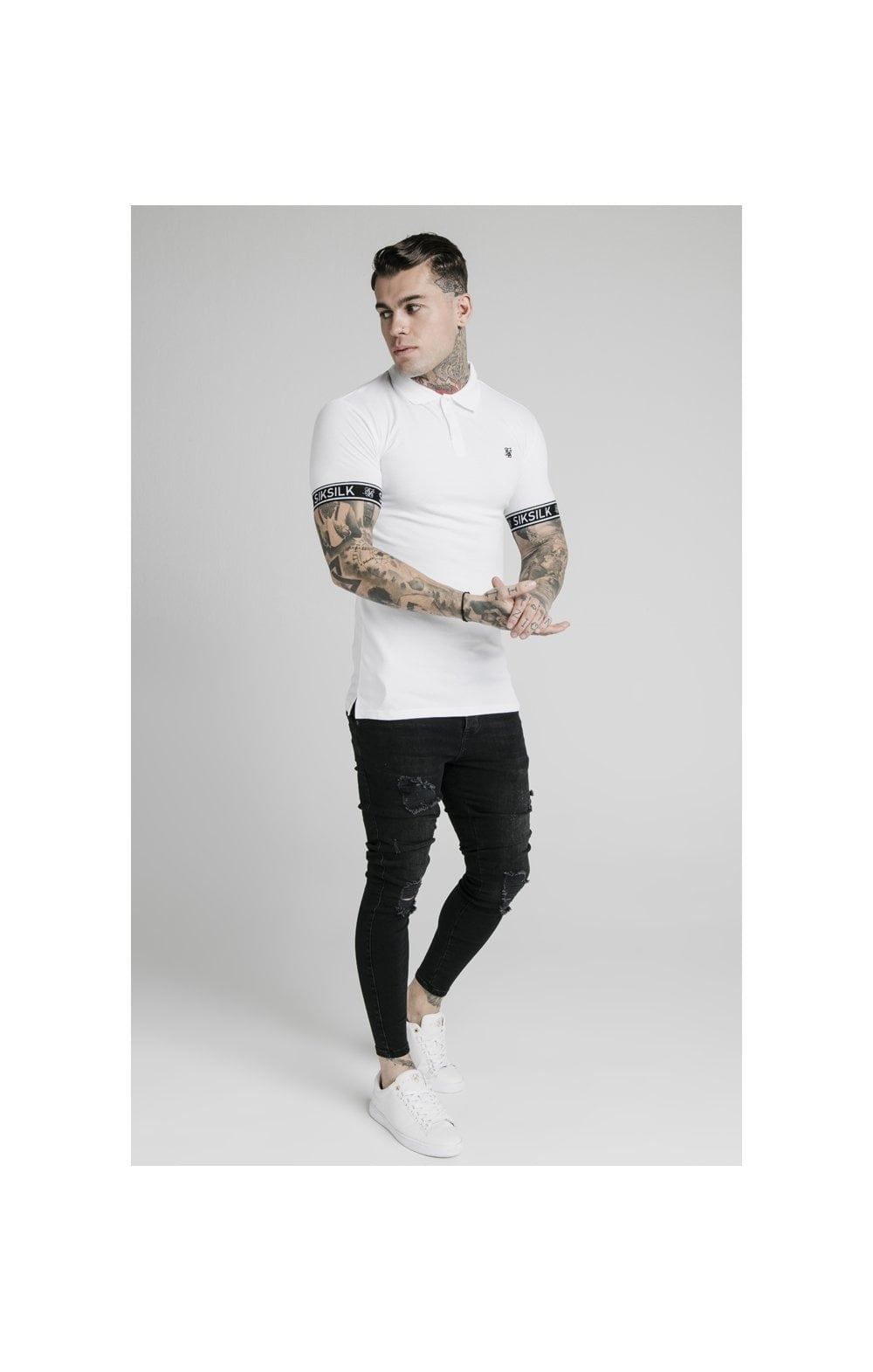 SikSilk S/S Tech Polo Tee - White (3)