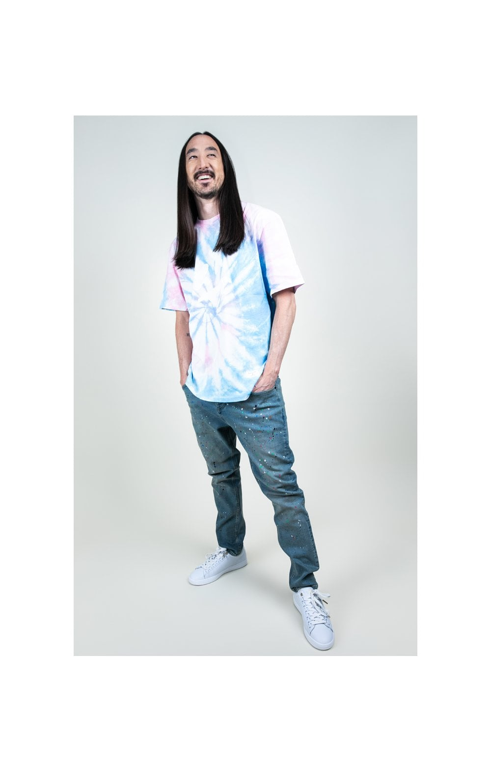 Charger l'image dans la galerie, SikSilk X Steve Aoki S/S Oversize Essential Tee – Baby Pink & Blue Tie Dye (6)