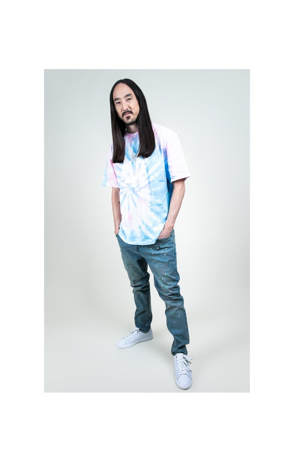 Charger l'image dans la galerie, SikSilk X Steve Aoki S/S Oversize Essential Tee – Baby Pink & Blue Tie Dye (7)