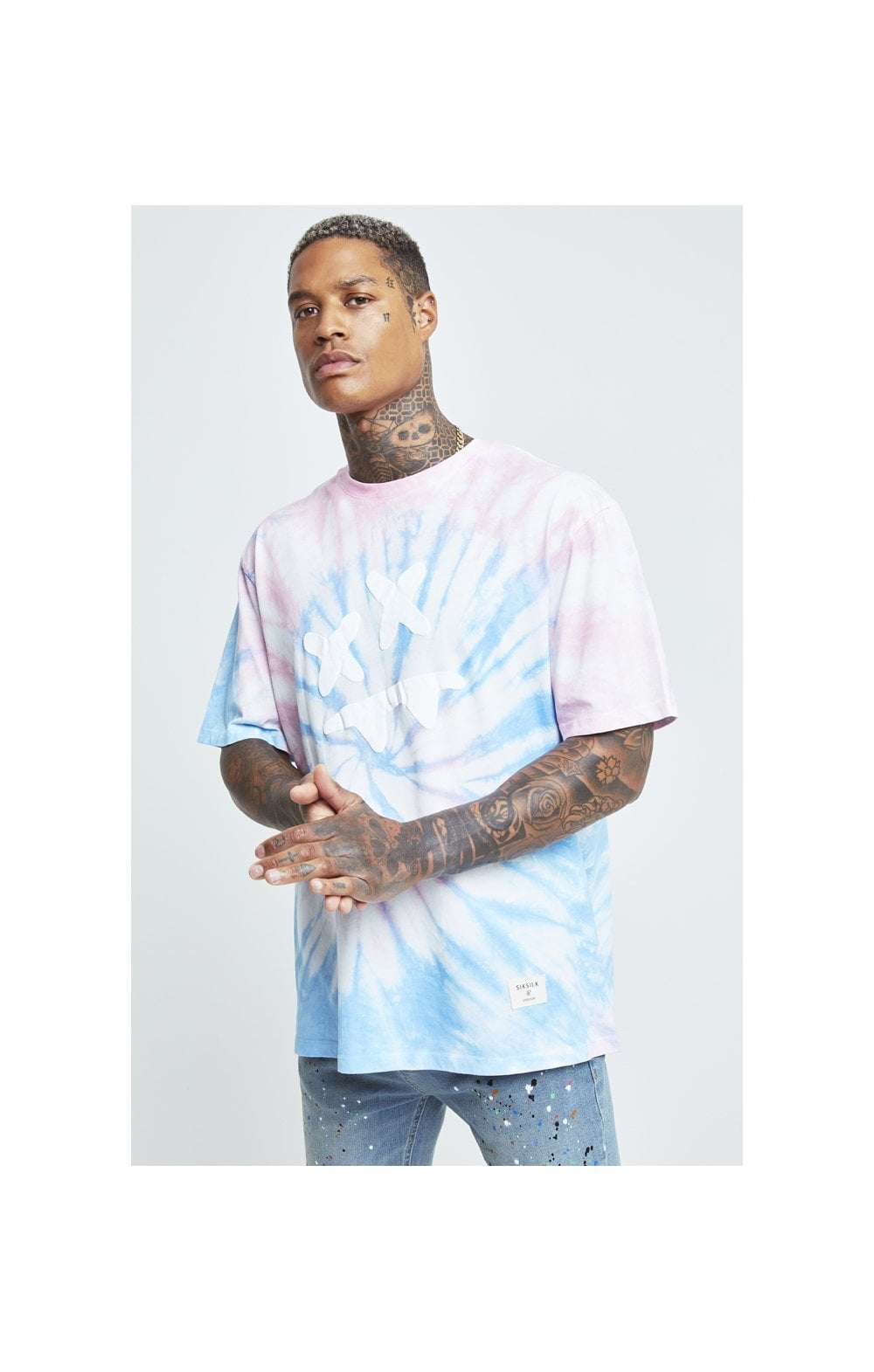 Charger l'image dans la galerie, SikSilk X Steve Aoki S/S Oversize Essential Tee – Baby Pink & Blue Tie Dye (1)