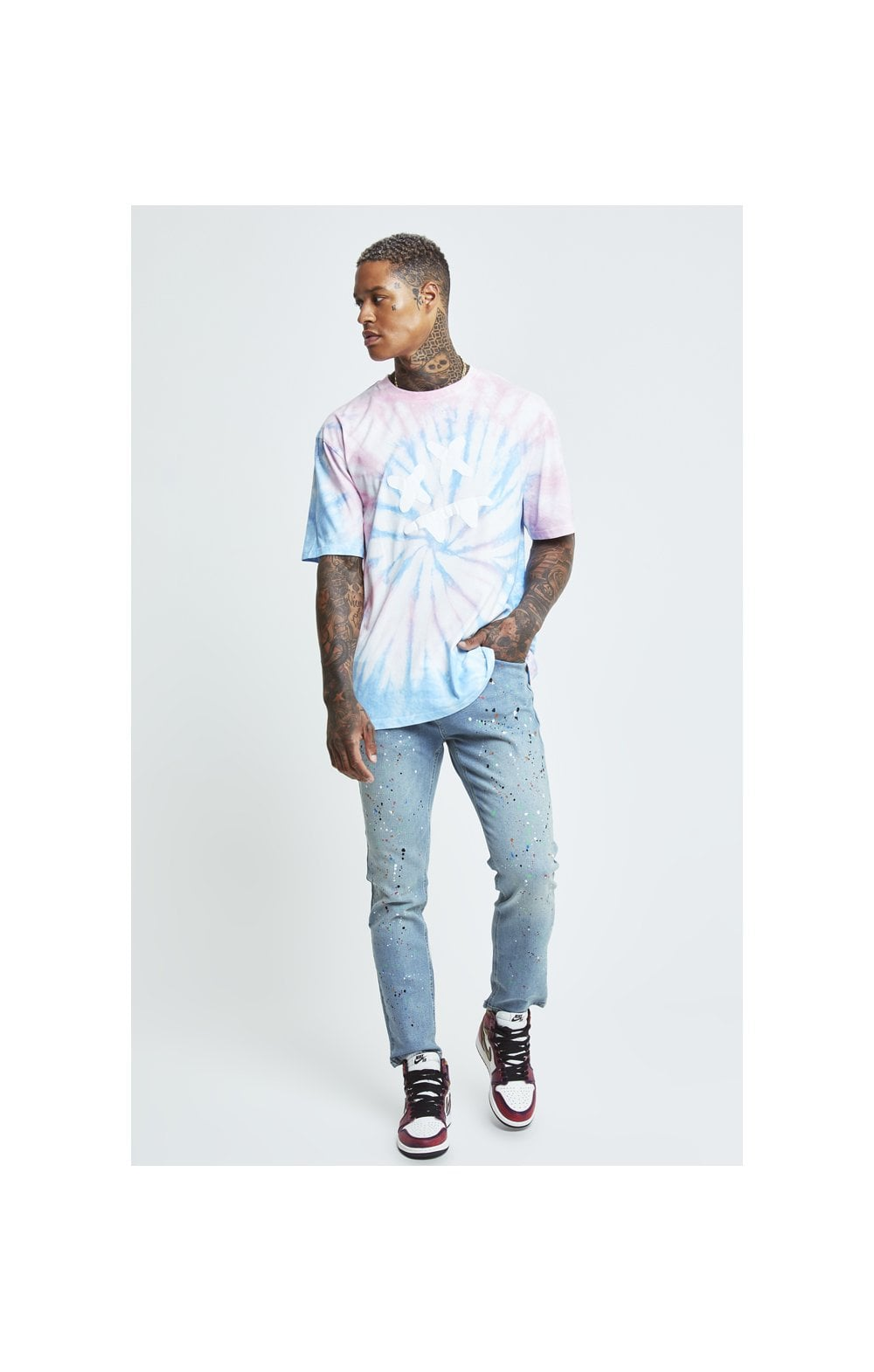 Charger l'image dans la galerie, SikSilk X Steve Aoki S/S Oversize Essential Tee – Baby Pink & Blue Tie Dye (3)