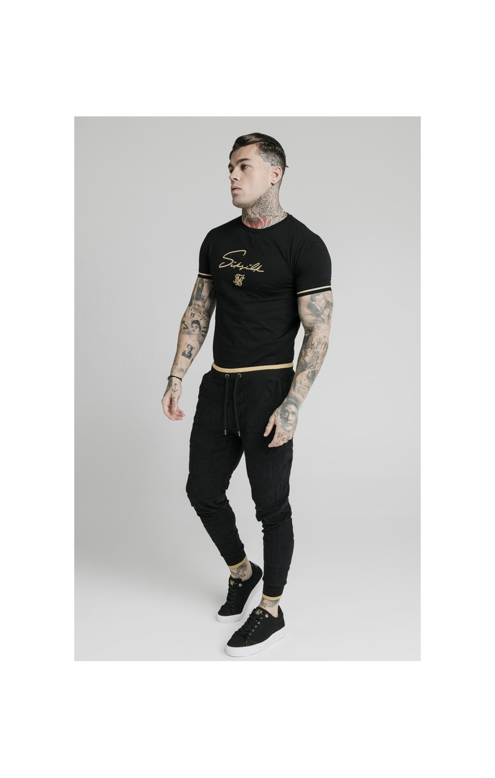 SikSilk Signature Tee - Black & Gold (2)