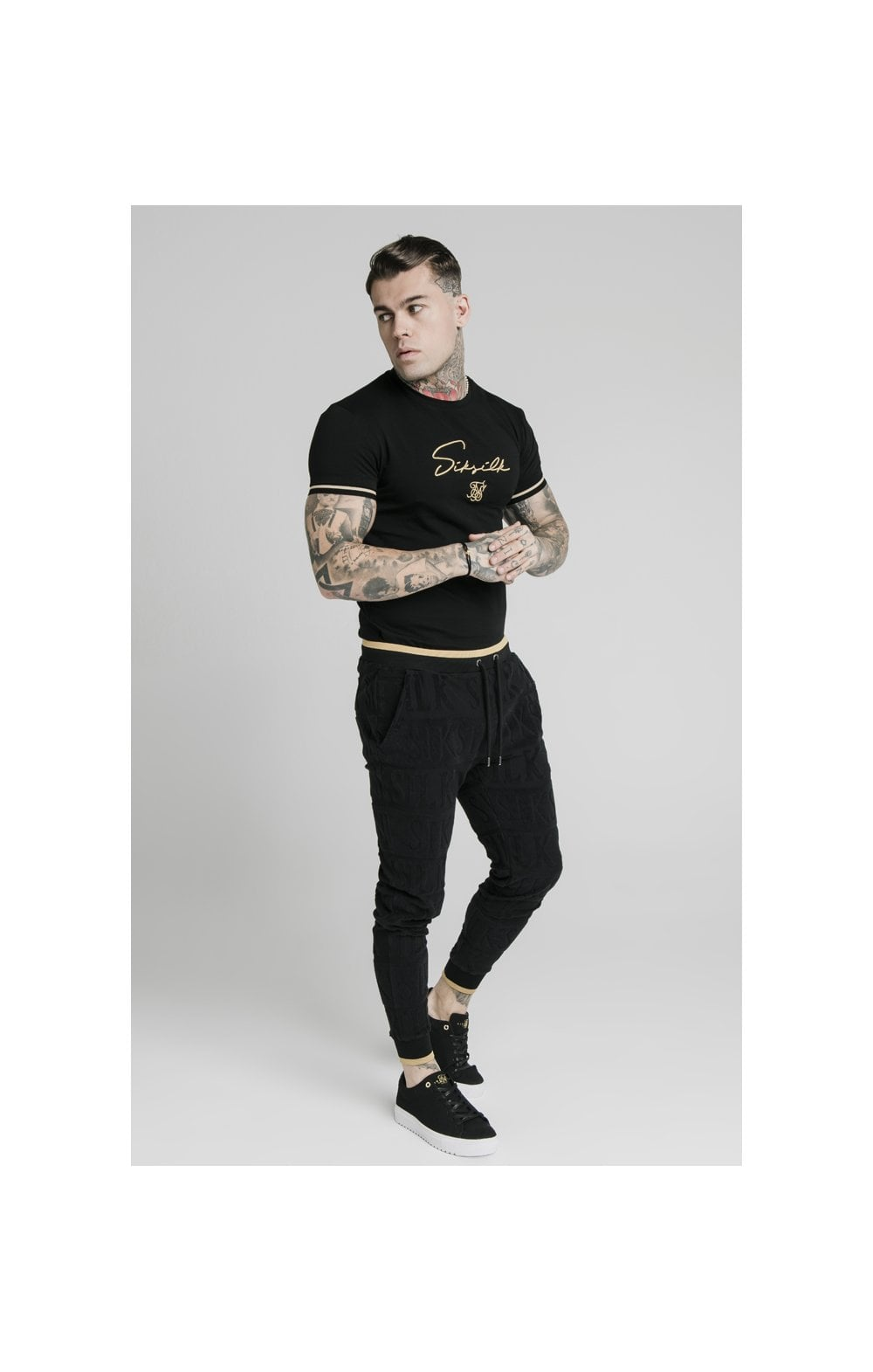 SikSilk Signature Tee - Black & Gold (3)
