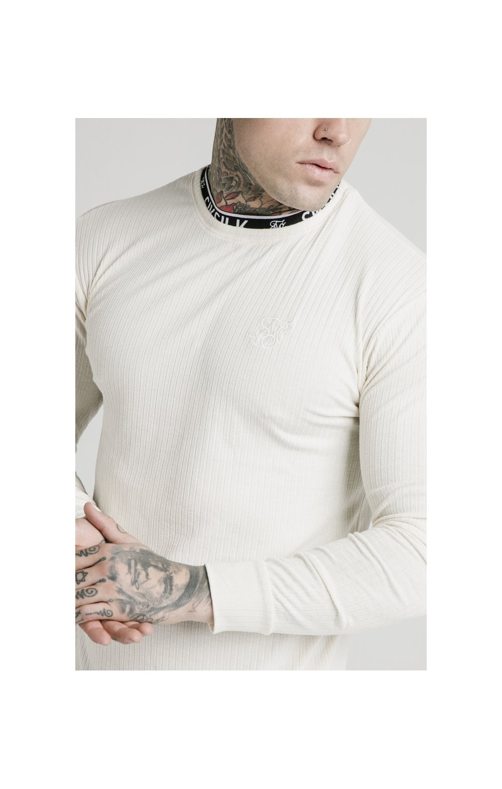Charger l'image dans la galerie, SikSilk L/S Rib Knit Tee - Off White (1)