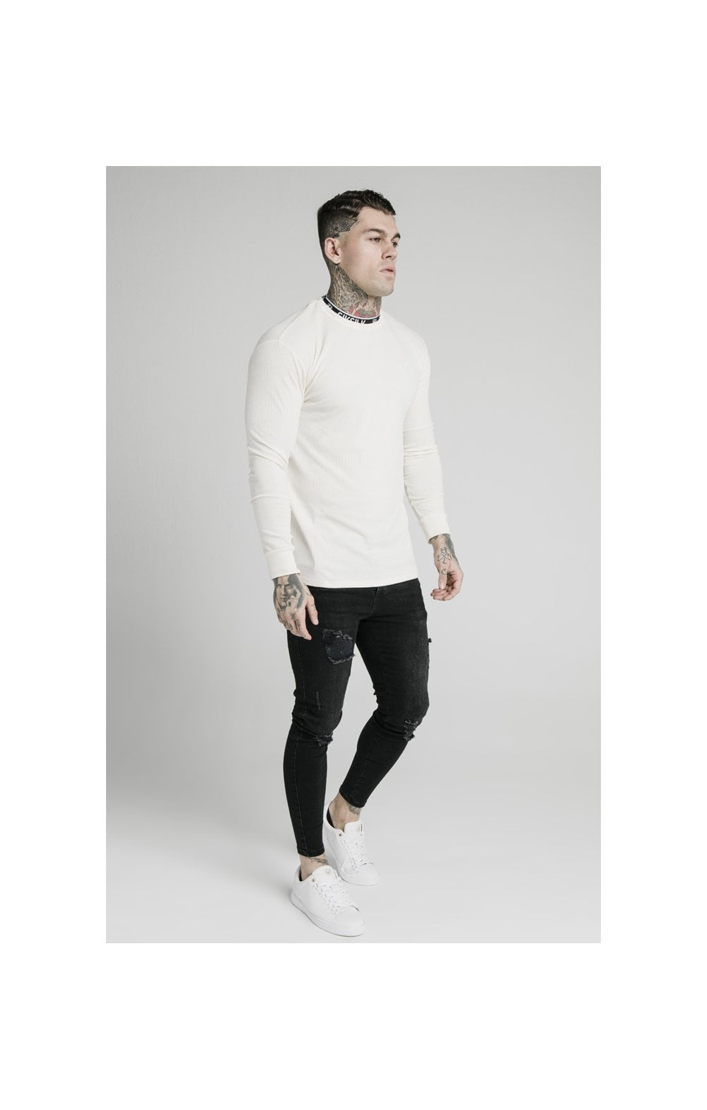 Charger l'image dans la galerie, SikSilk L/S Rib Knit Tee - Off White (3)