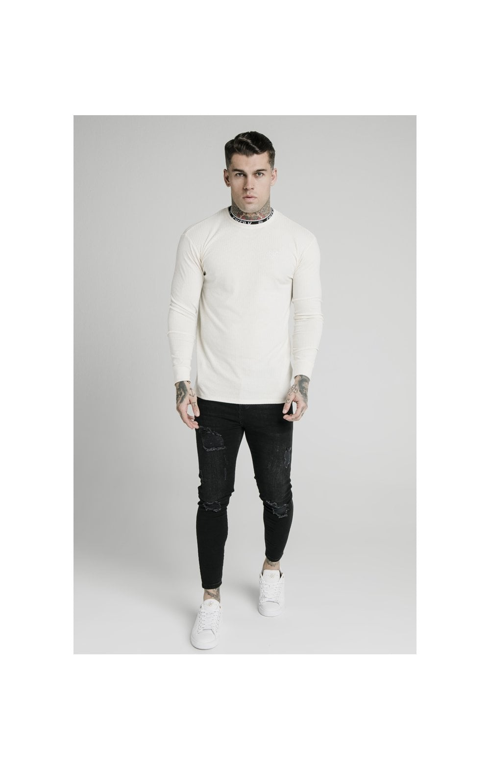 Charger l'image dans la galerie, SikSilk L/S Rib Knit Tee - Off White (4)