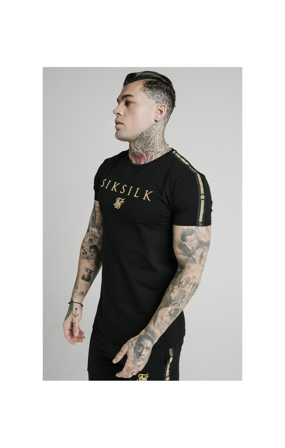 SikSilk Prestige Straight Hem Gym Tee - Black & Gold