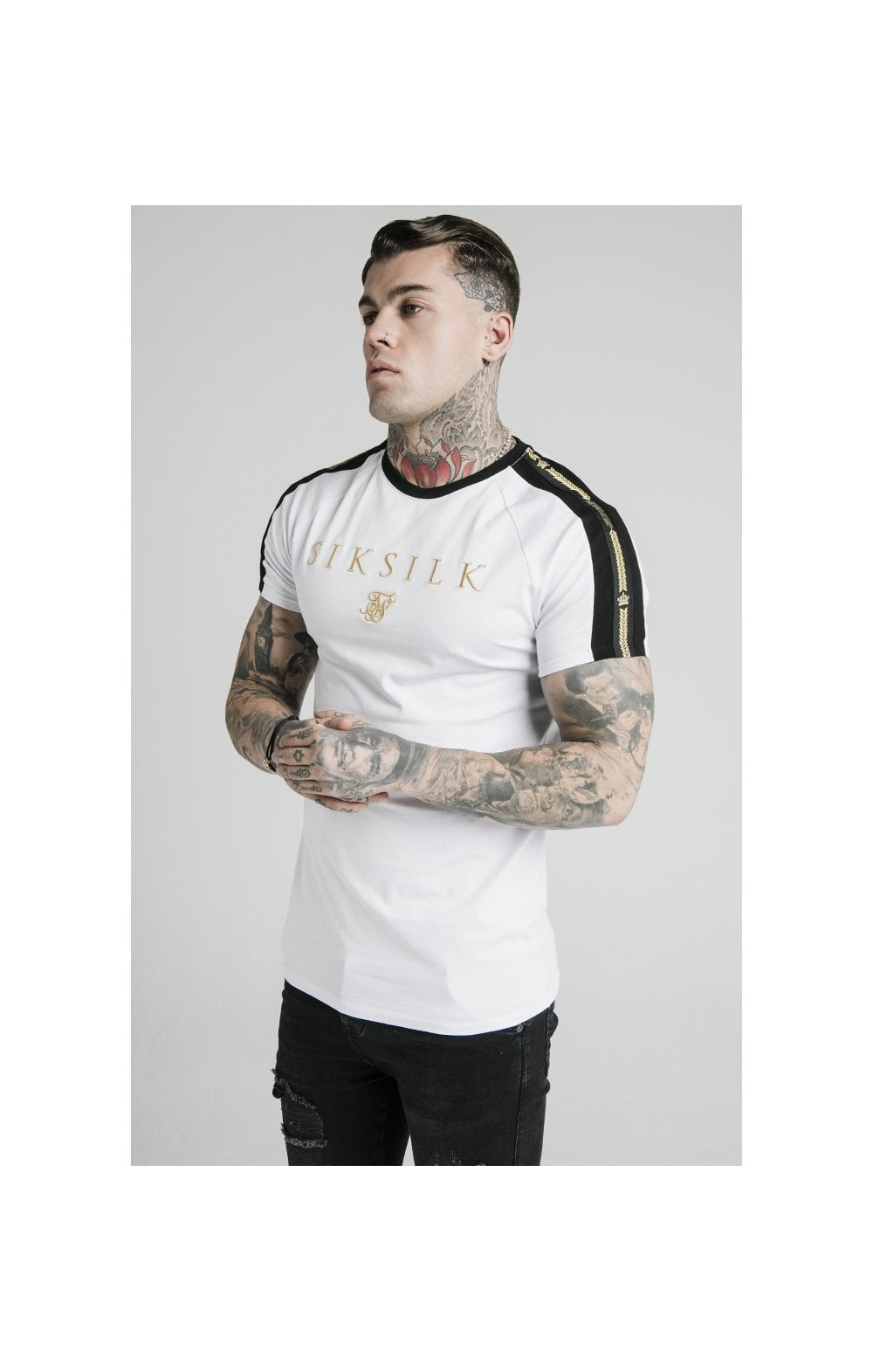 SikSilk S/S Prestige Tape Tech Tee - White, Black & Gold