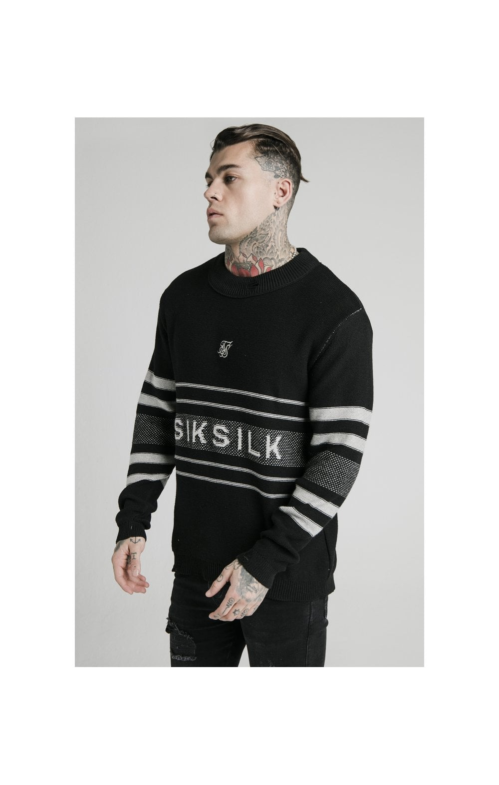 SikSilk L/S Knitted Funnel Sweater - Black