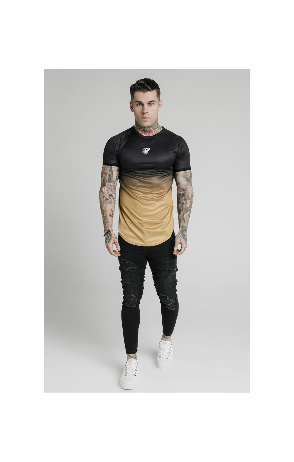 SikSilk S/S  Fade Tech Tee - Black & Gold (2)