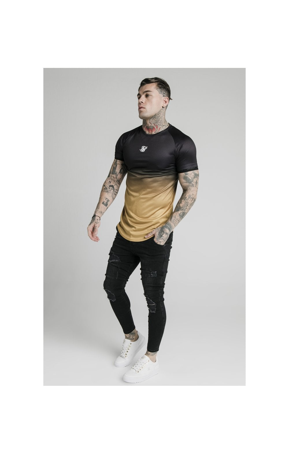 SikSilk S/S  Fade Tech Tee - Black & Gold (3)