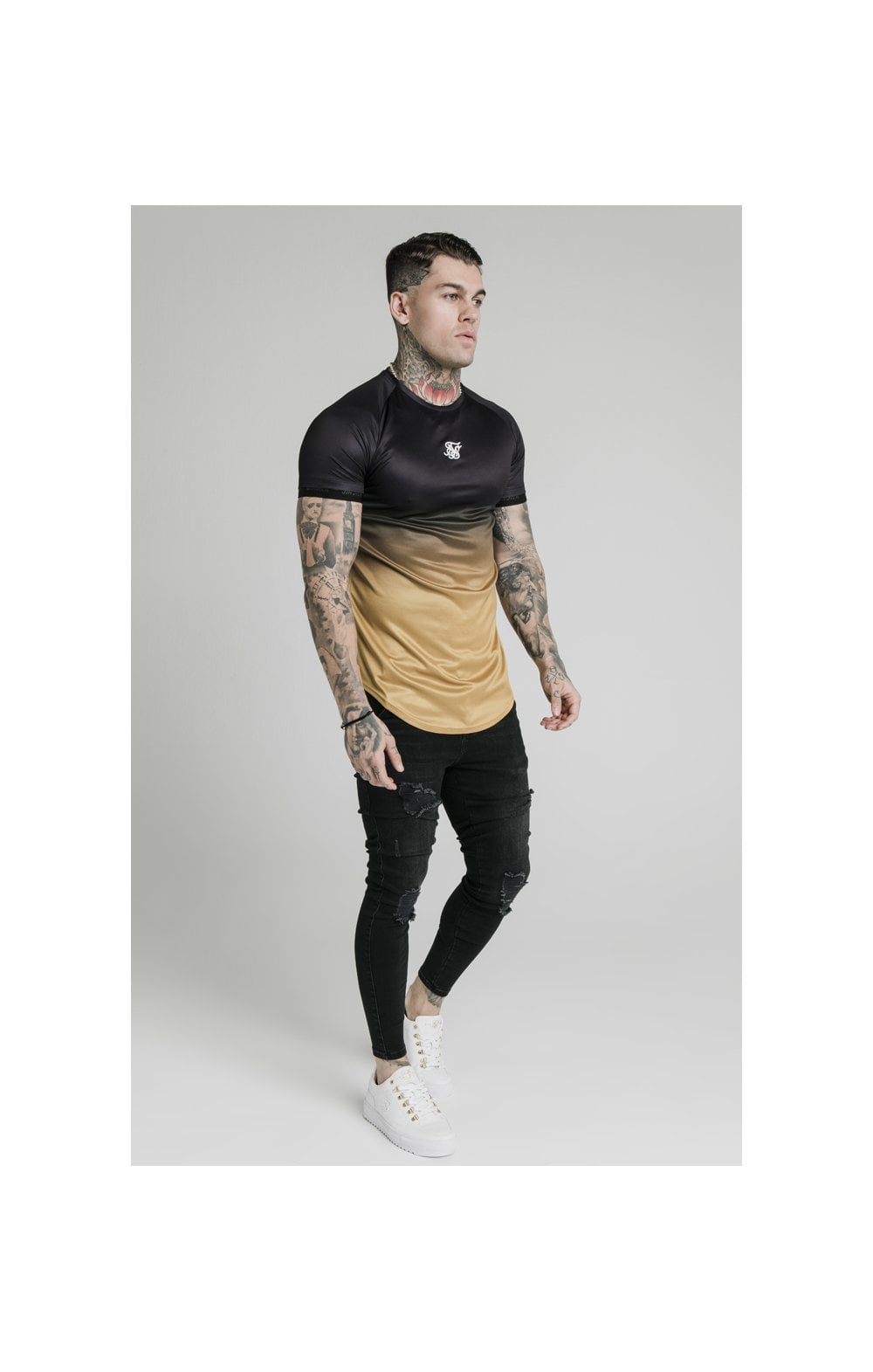 SikSilk S/S  Fade Tech Tee - Black & Gold (4)
