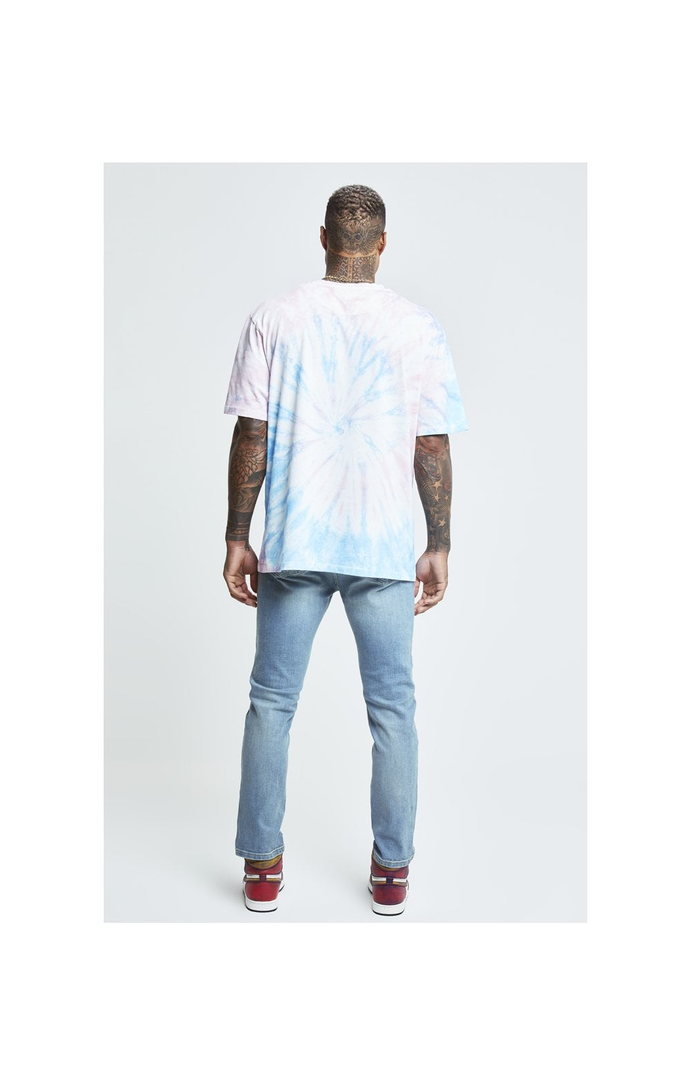 Charger l'image dans la galerie, SikSilk X Steve Aoki S/S Oversize Essential Tee – Baby Pink & Blue Tie Dye (5)