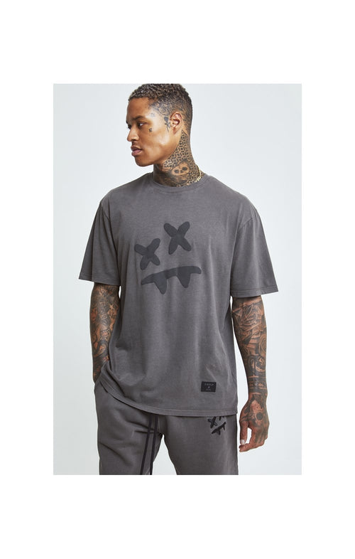 SikSilk X Steve Aoki S/S Oversize Essential Tee – Washed Grey