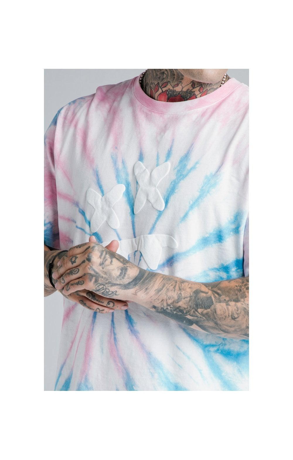 Charger l'image dans la galerie, SikSilk X Steve Aoki S/S Oversize Essential Tee – Baby Pink & Blue Tie Dye