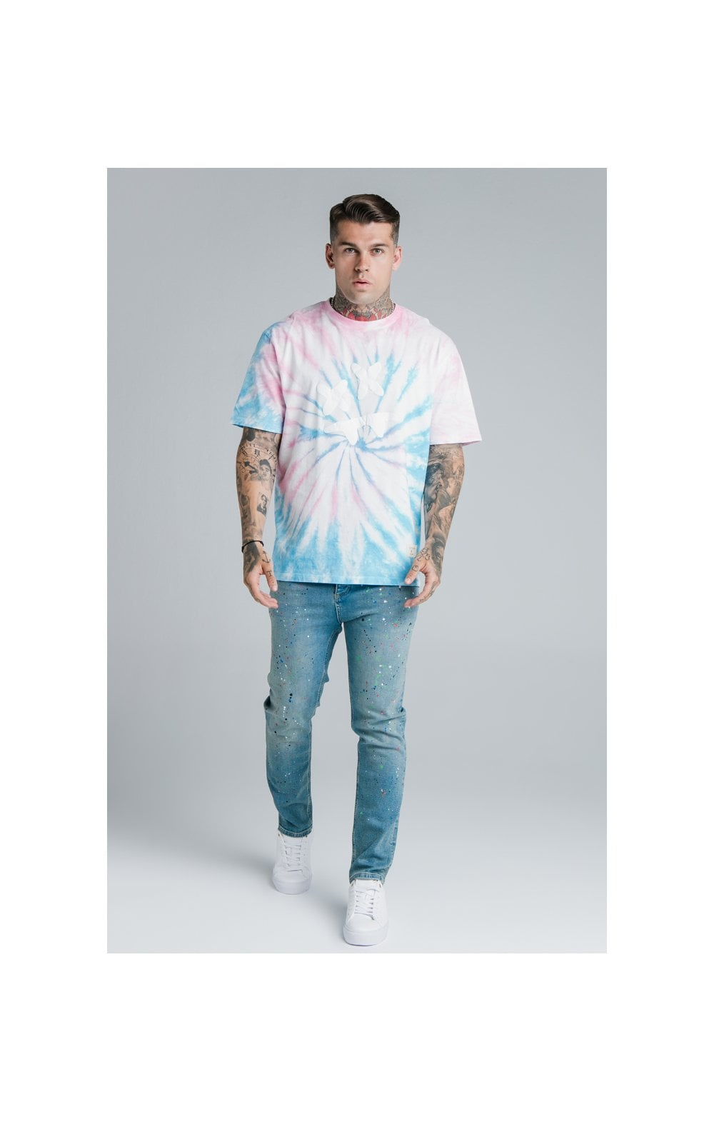 Charger l'image dans la galerie, SikSilk X Steve Aoki S/S Oversize Essential Tee – Baby Pink & Blue Tie Dye (4)