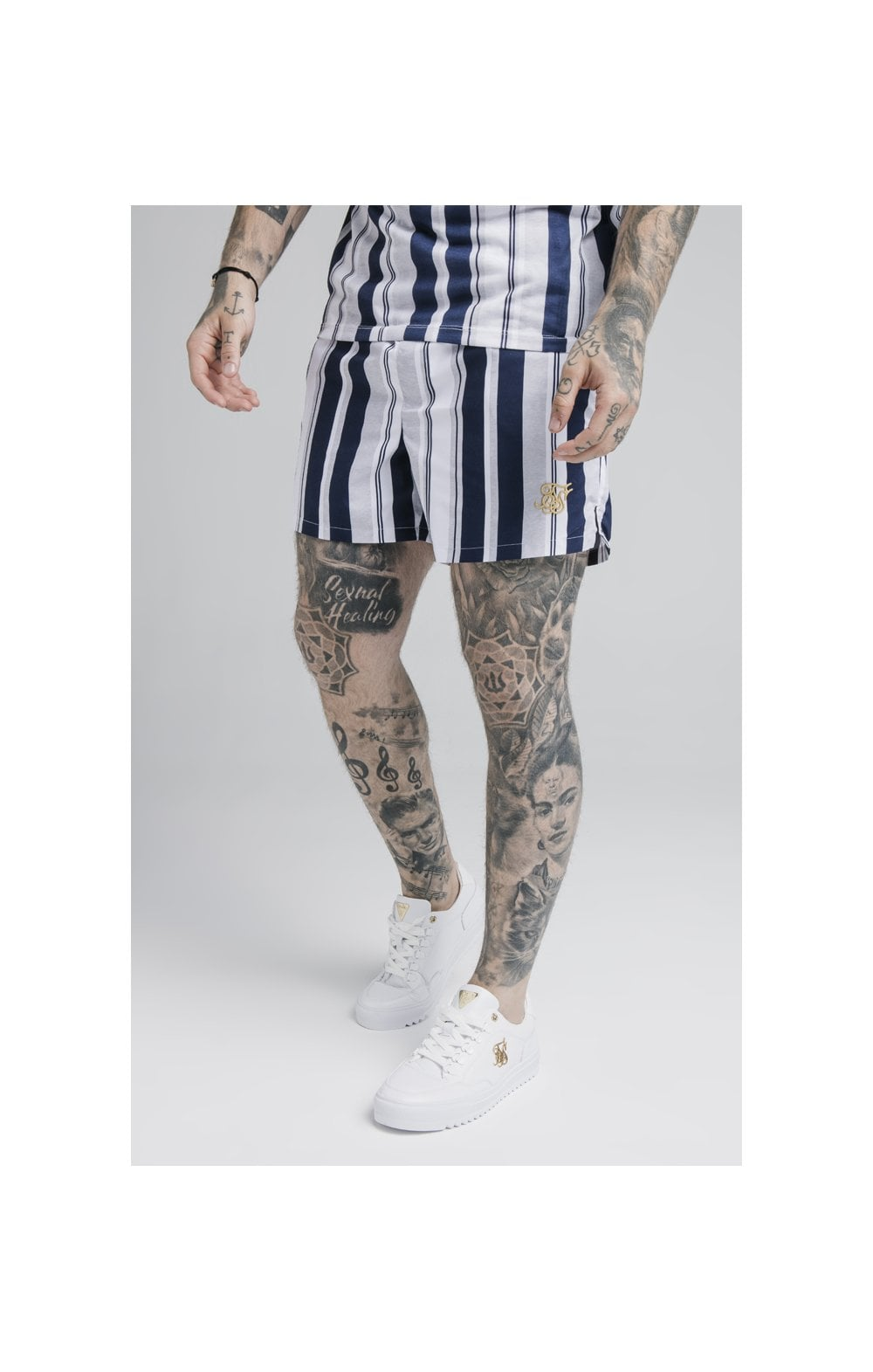 SikSilk Standard Swim Shorts – Navy, Grey & White