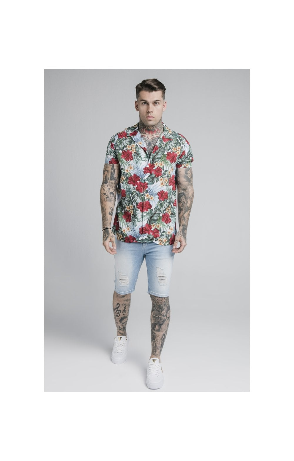 SikSilk 70's Floral Resort Shirt – White (3)