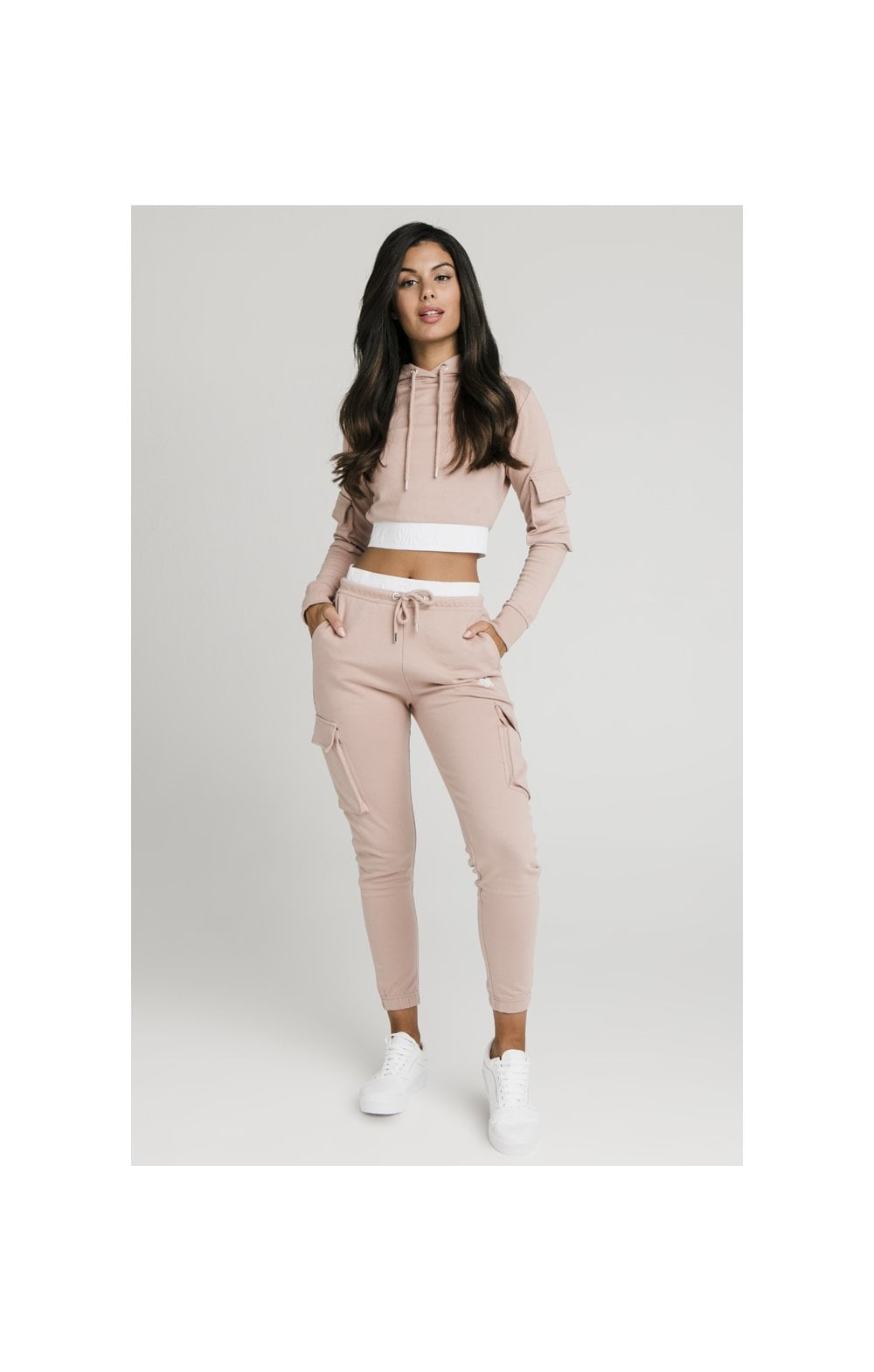 SikSilk Cargo Pocket Cropped Hoodie - Rose