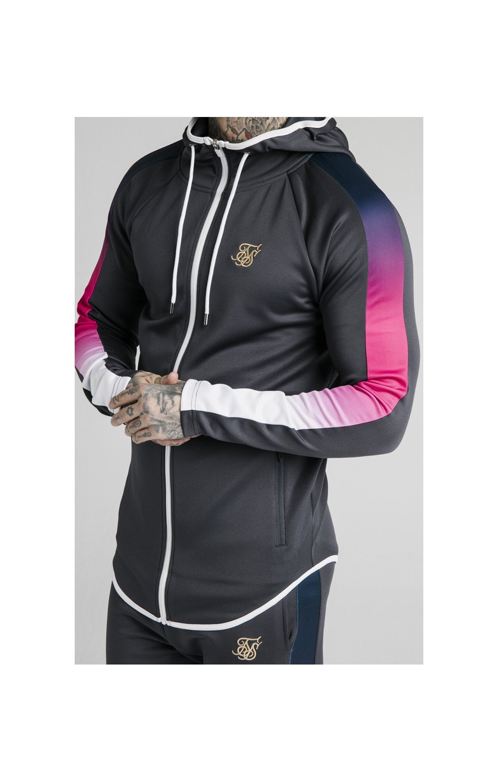 SikSilk Advanced Tech Zip Through Hoodie - Midnight Grey