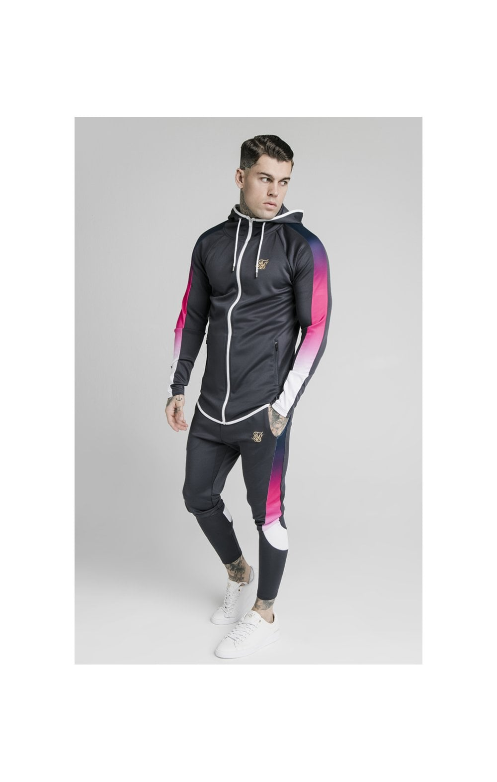 SikSilk Advanced Tech Zip Through Hoodie - Midnight Grey (1)