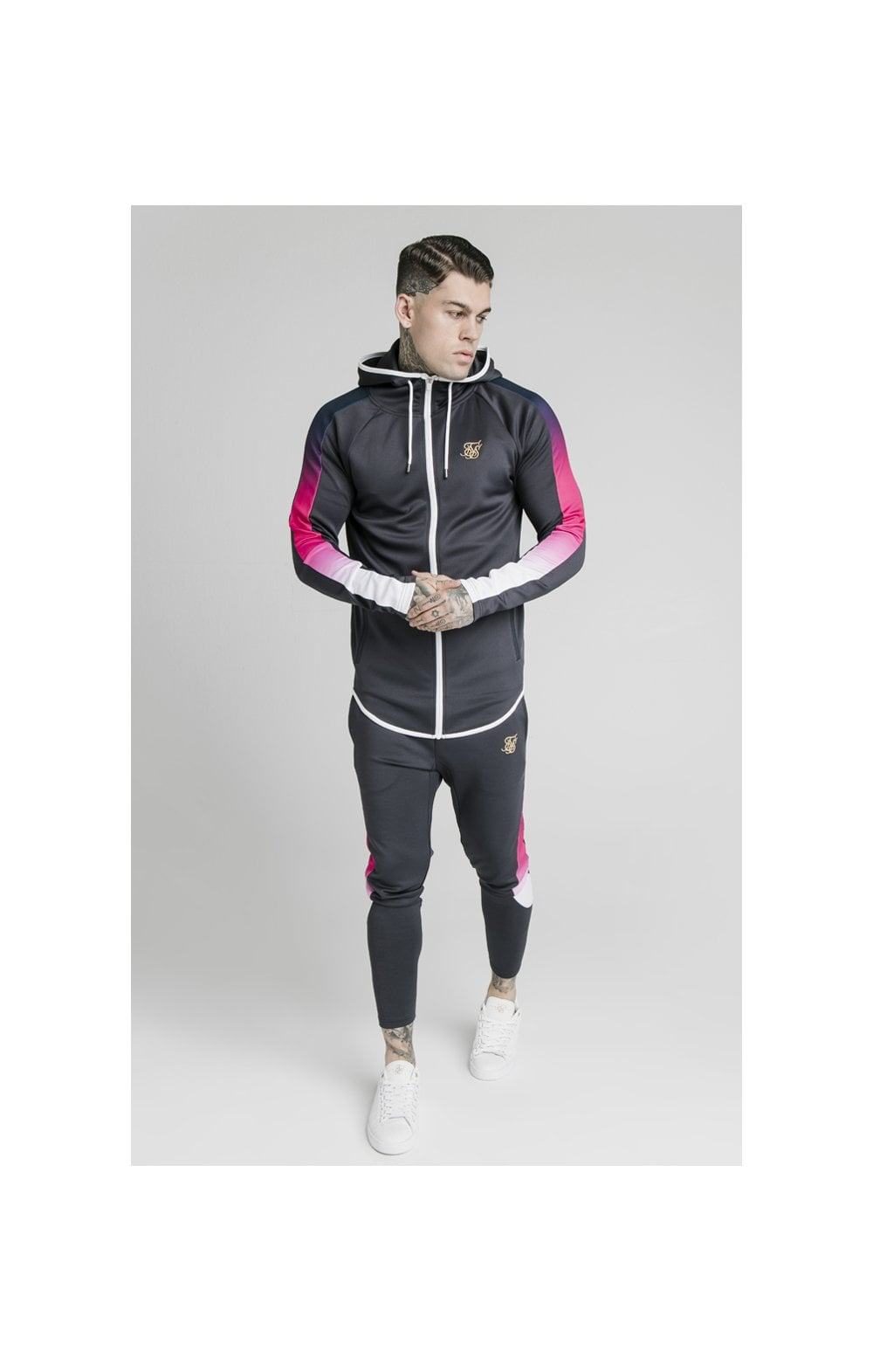 SikSilk Advanced Tech Zip Through Hoodie - Midnight Grey (3)
