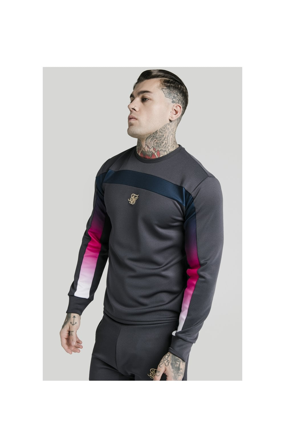 SikSilk Tri-Fade Panel Crew Swat - Midnight Grey