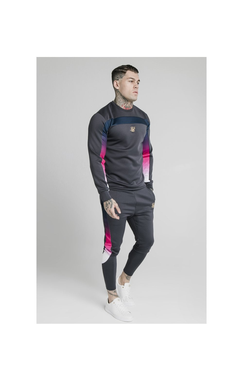 SikSilk Tri-Fade Panel Crew Swat - Midnight Grey (1)