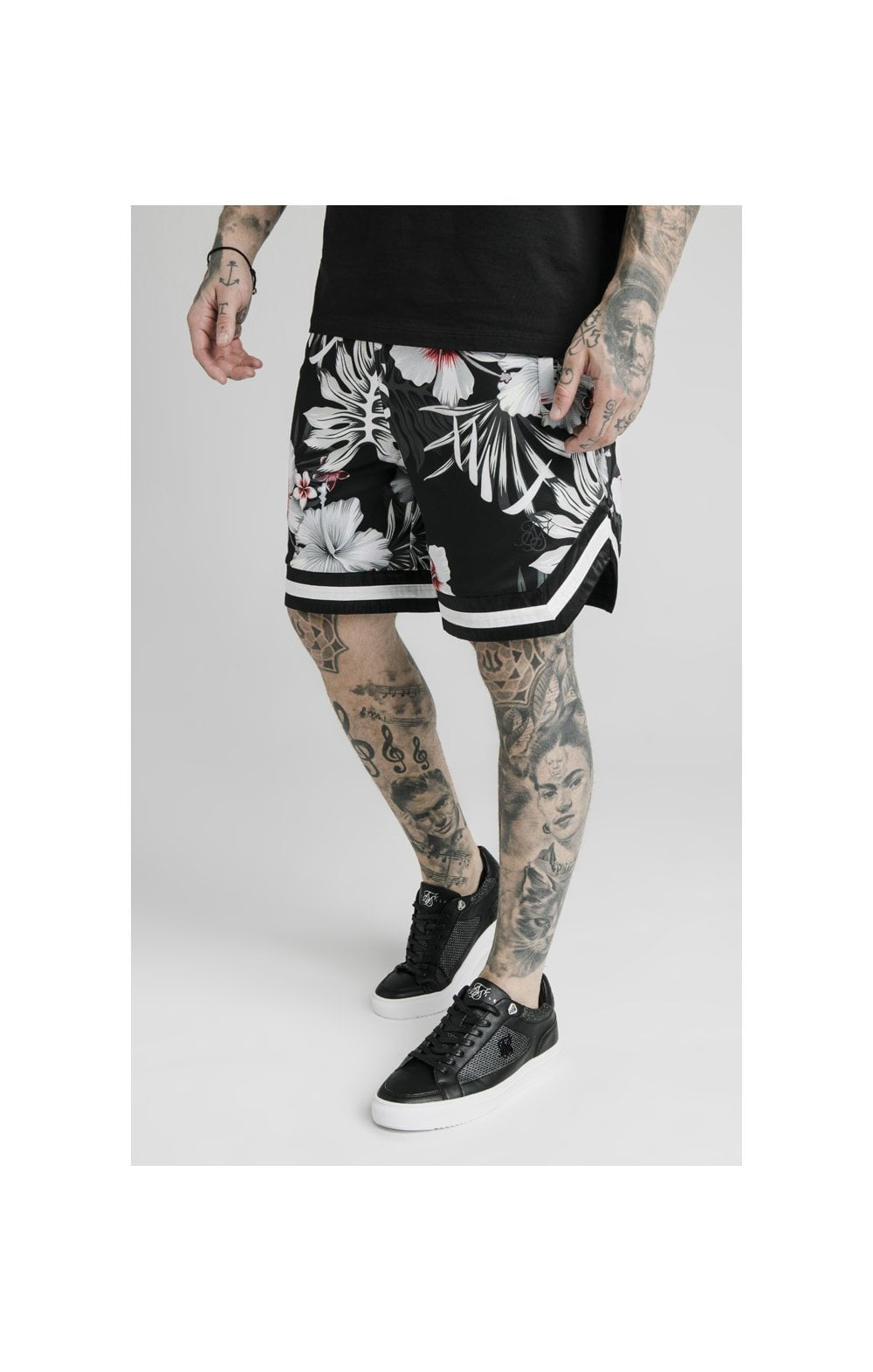 SikSilk Floral Basketball Shorts - Black