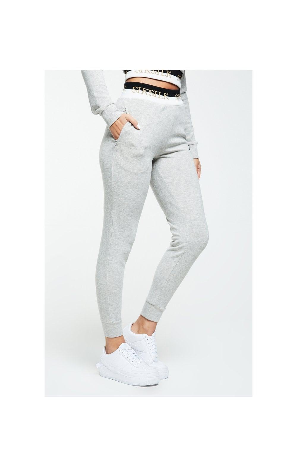SikSilk Deluxe Track Pants - Grey Marl (2)