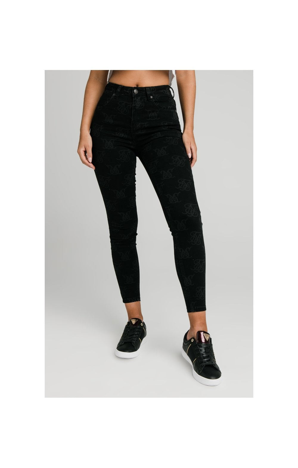 SikSilk Monogram Skinny Denims - Black