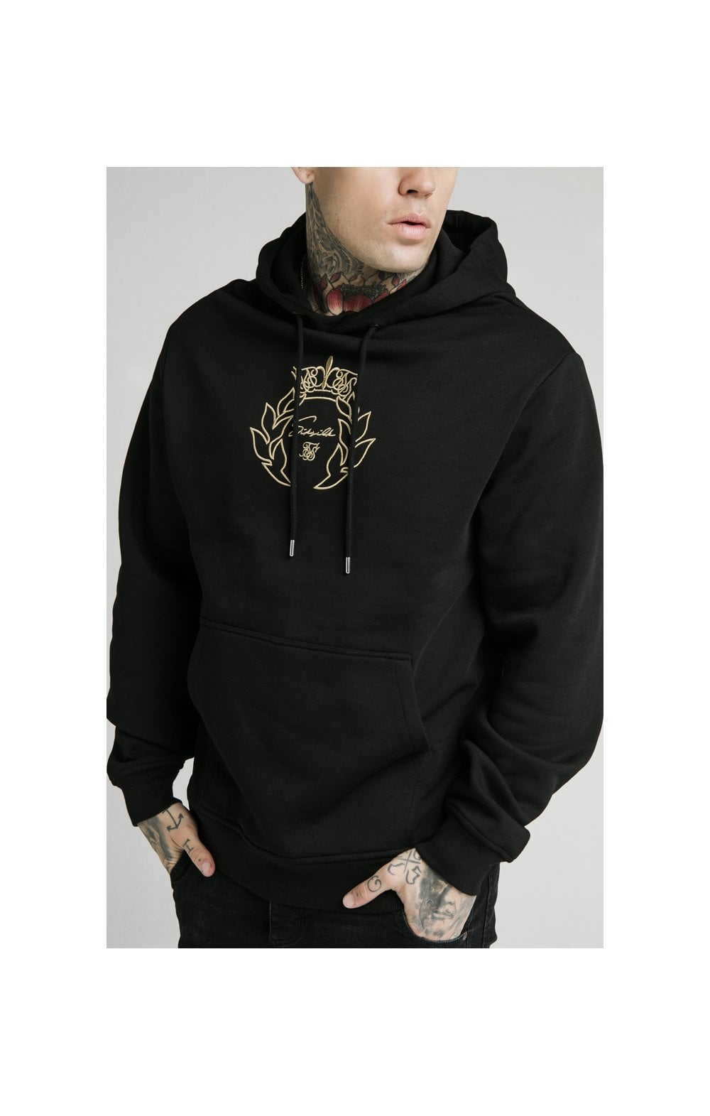 SikSilk Overhead Tape Hoodie - Black & Gold