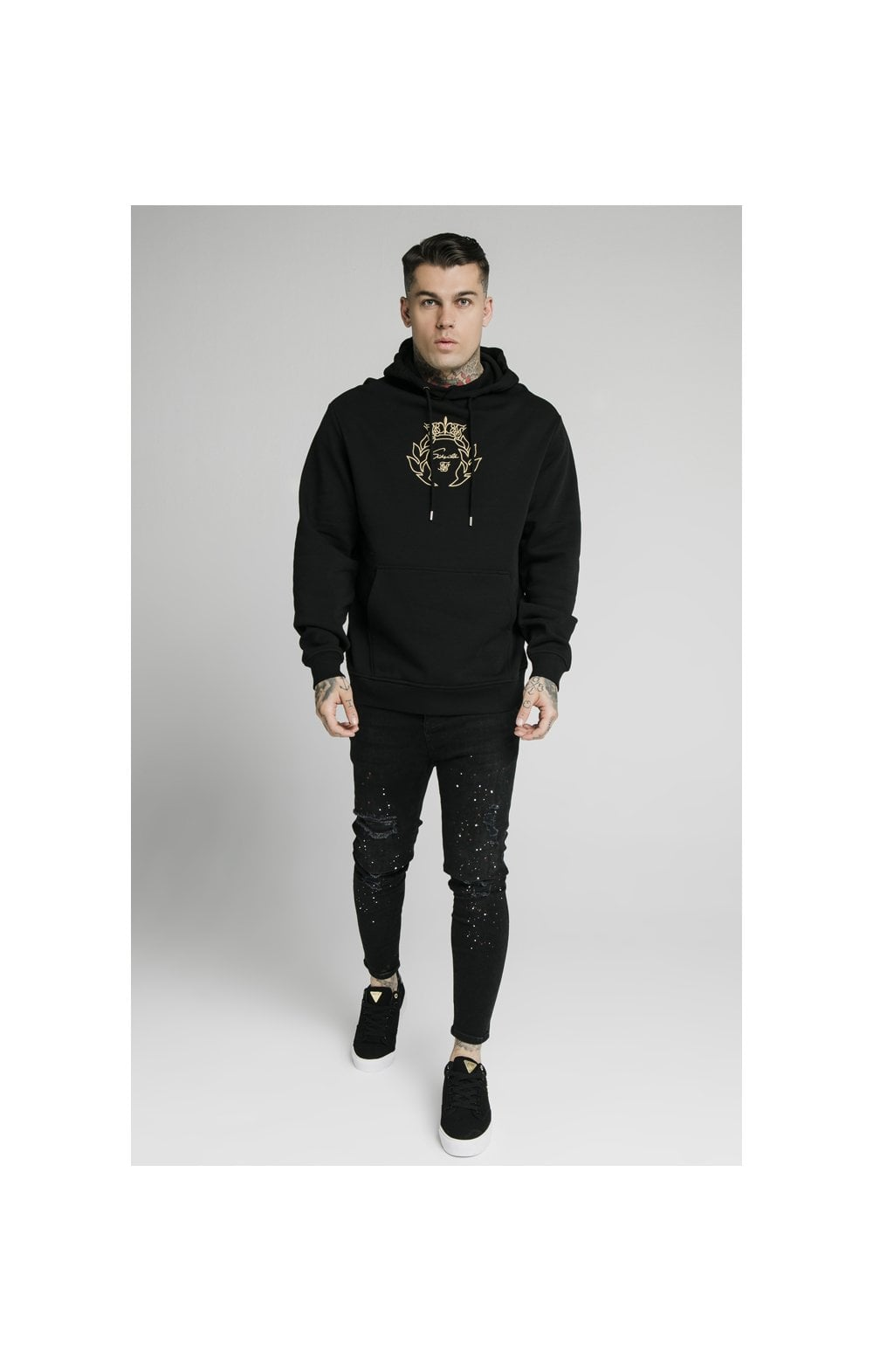 Charger l'image dans la galerie, SikSilk Overhead Tape Hoodie - Black & Gold (2)