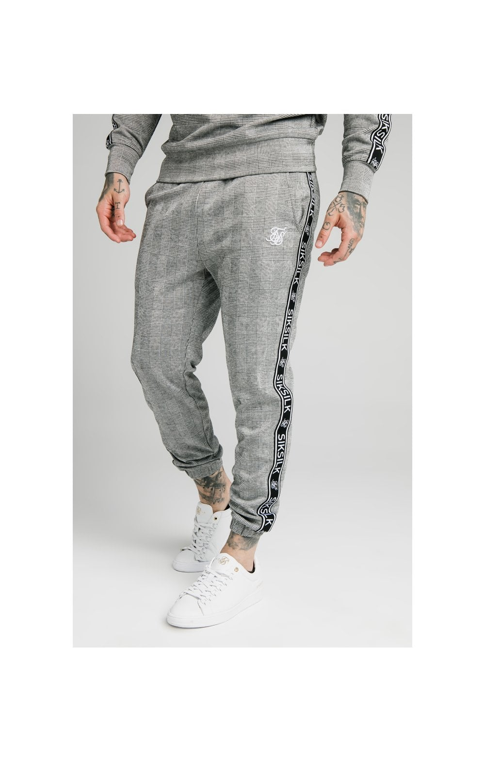 SikSilk Dog Tooth Check Chuffed Pant - Black & White