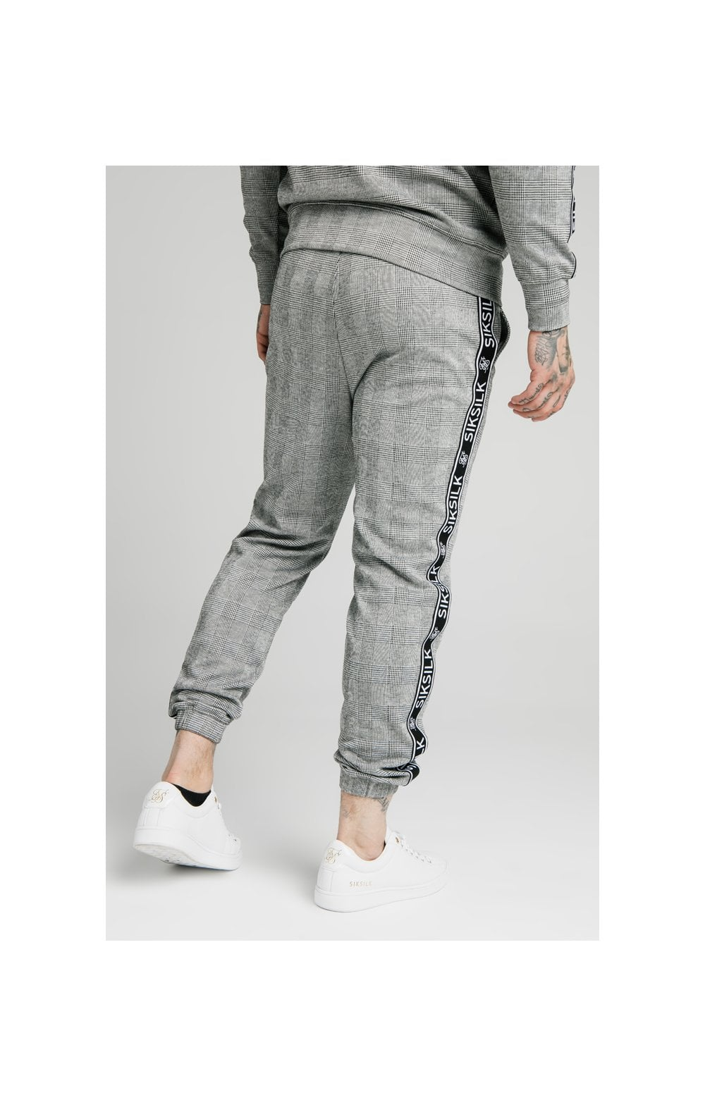 SikSilk Dog Tooth Check Chuffed Pant - Black & White (2)