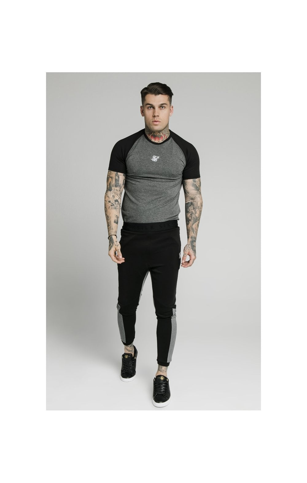 SikSilk Endurance Gym Tee - Black & Grey (2)