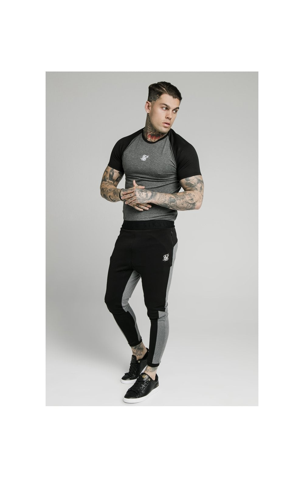 SikSilk Endurance Gym Tee - Black & Grey (3)