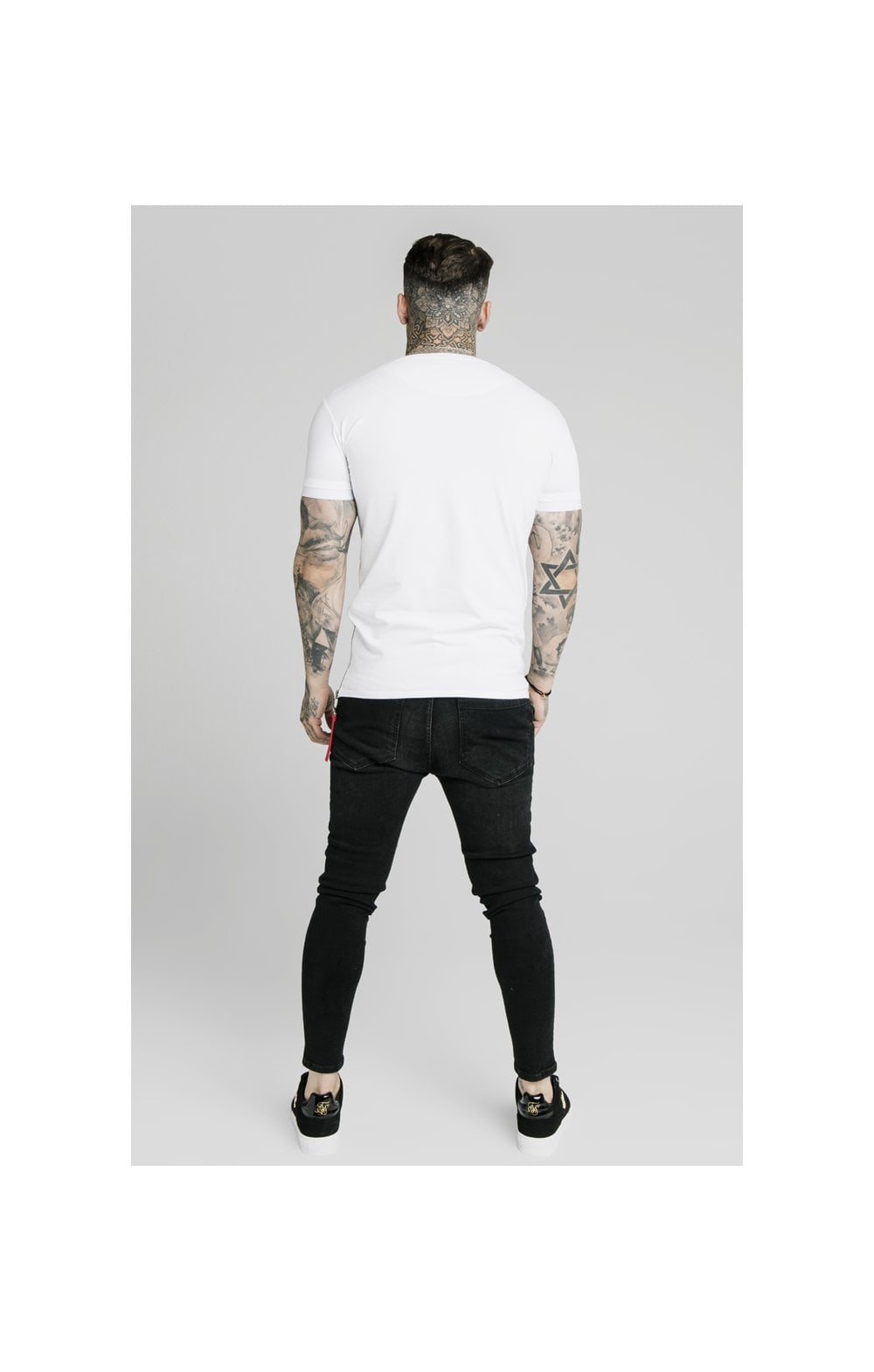 SikSilk S/S Signature Flock Tee - White (2)