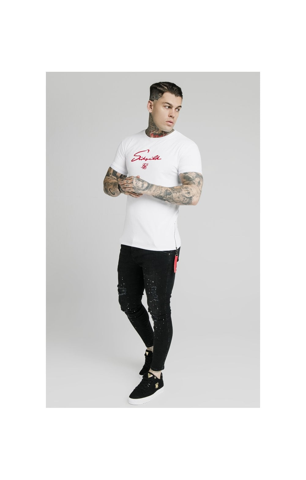 SikSilk S/S Signature Flock Tee - White (3)