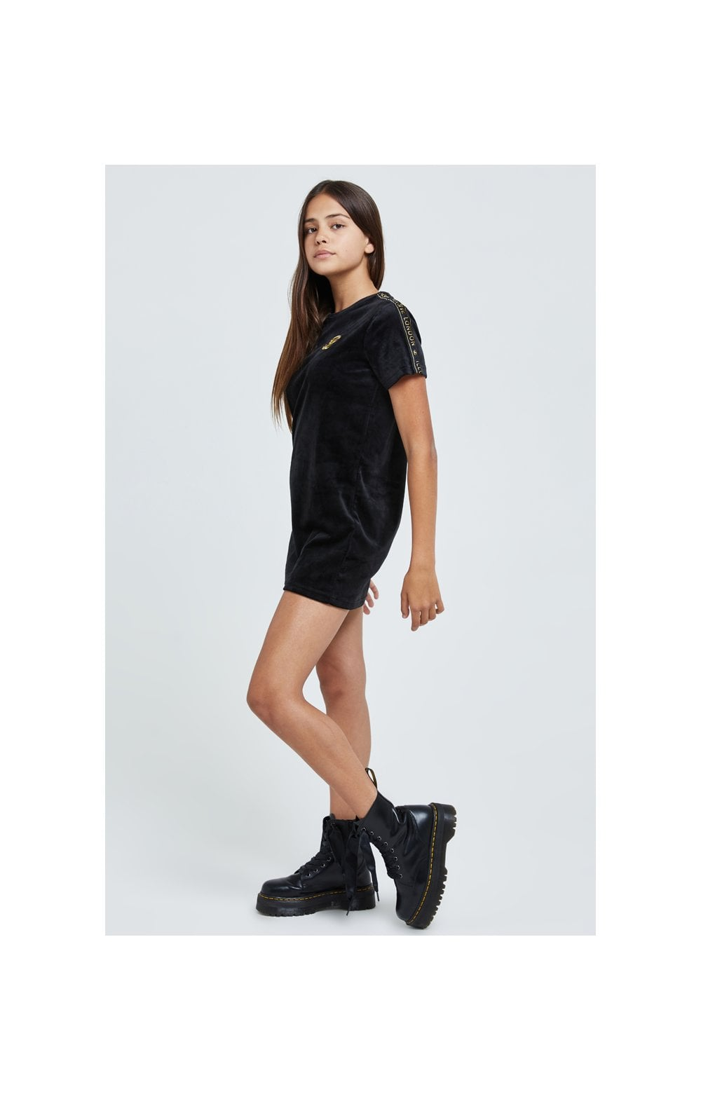 Charger l'image dans la galerie, Illusive London Velour Tape Dress - Black (2)
