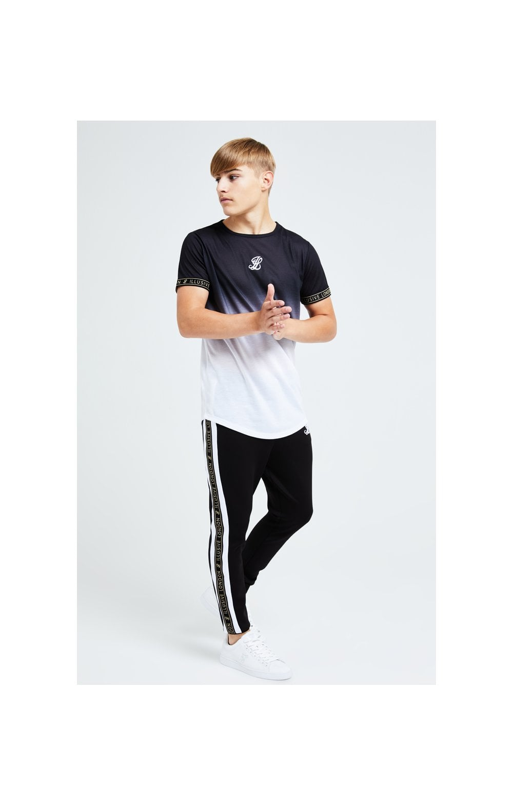 Illusive London Diverge Fade Tech Tee - Black Gold & White (3)