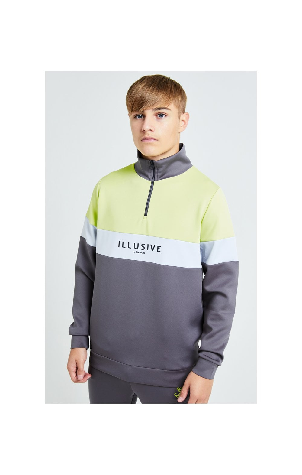 Illusive London Blaze Quarter Zip Hoodie - Dark Grey & Lime