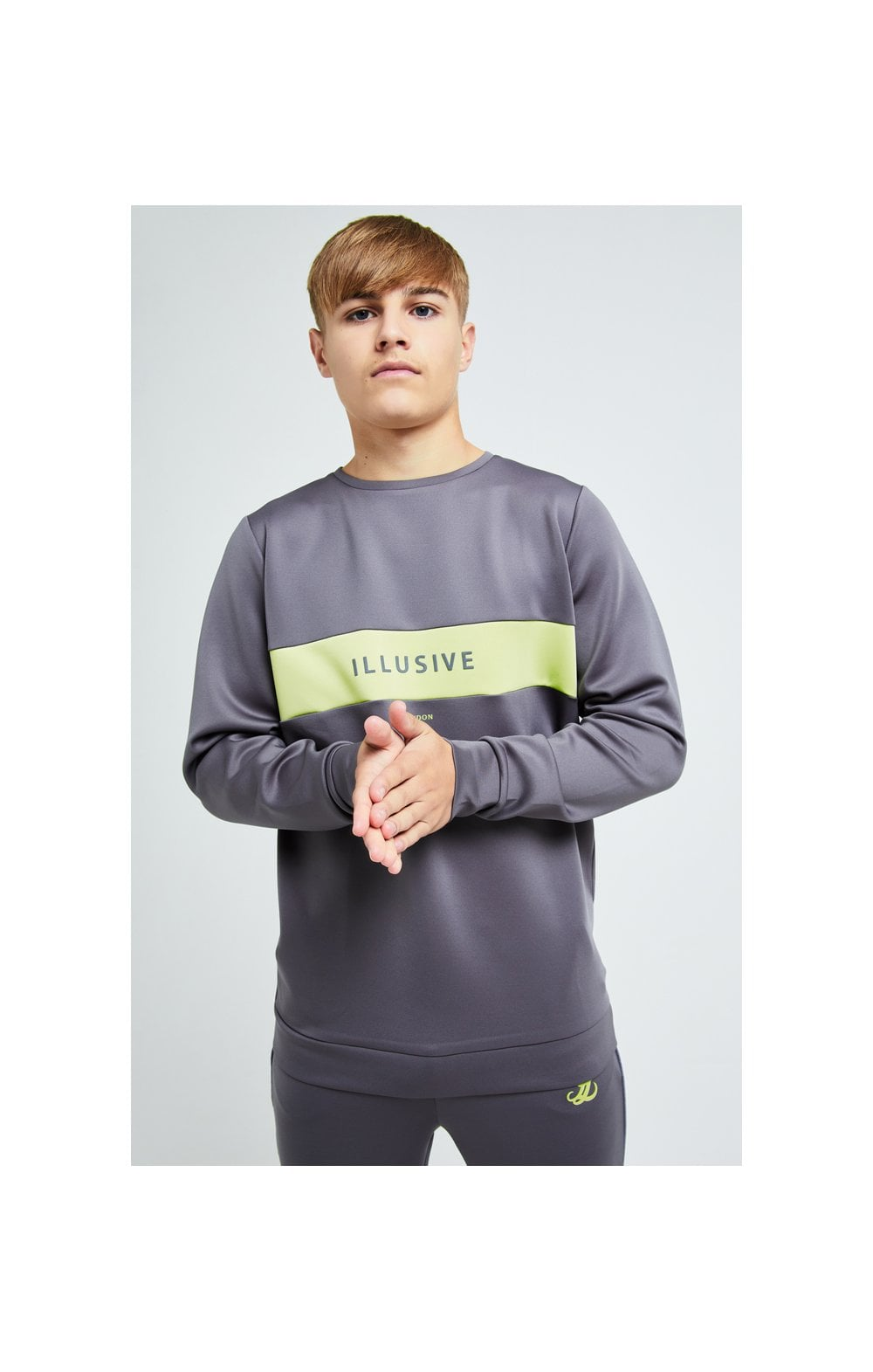 Illusive London Blaze Crew Sweater - Dark Grey & Lime
