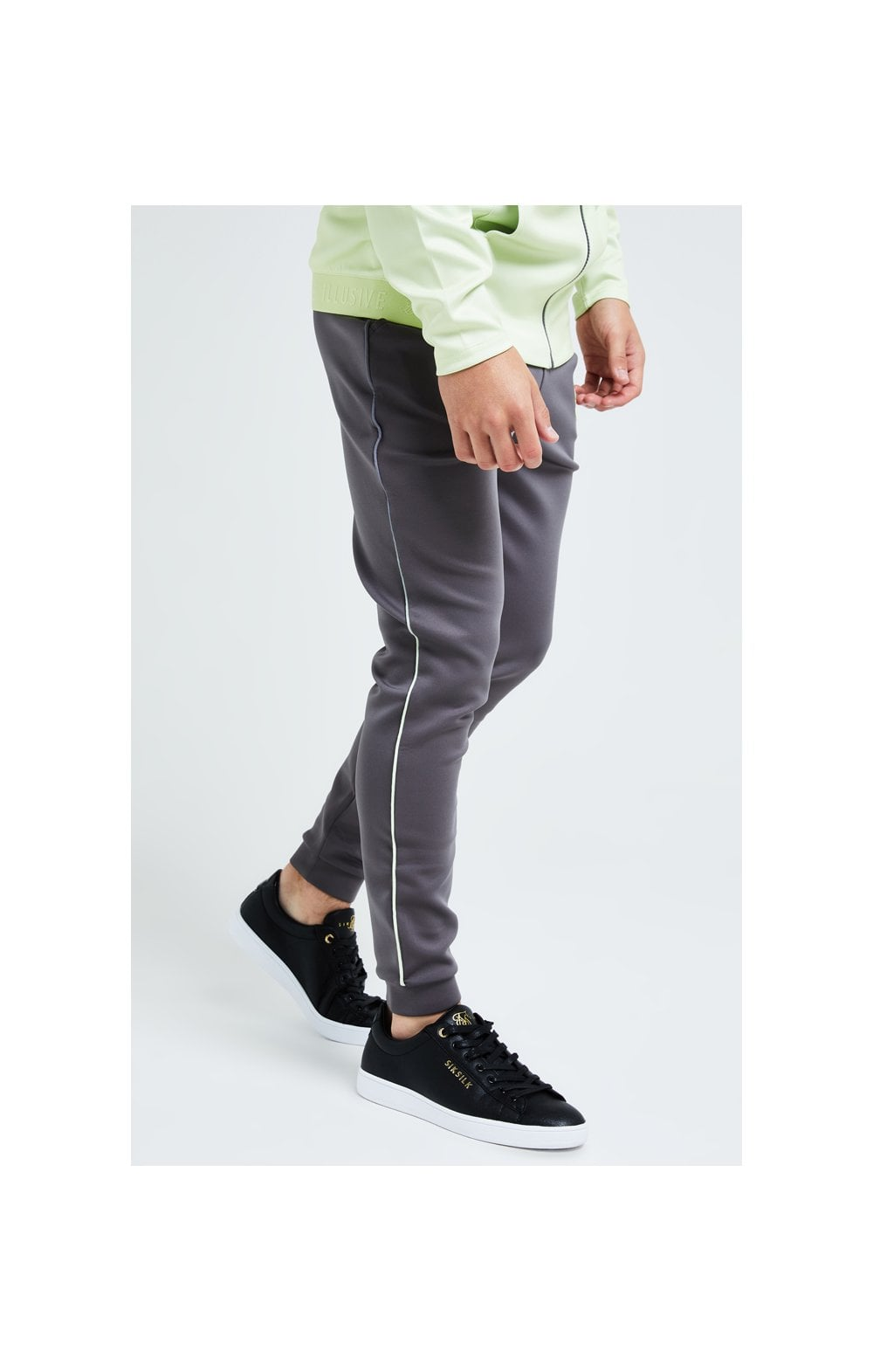 Illusive London Blaze Fade Piping Jogger - Dark Grey & Lime (1)